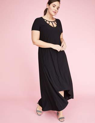 High-Low Maxi Dress with Caged Neckline