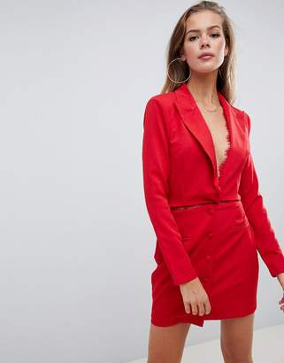 Missguided blazer dress in red