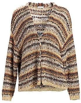 Brunello Cucinelli Women's Striped Paillette Knit Cardigan
