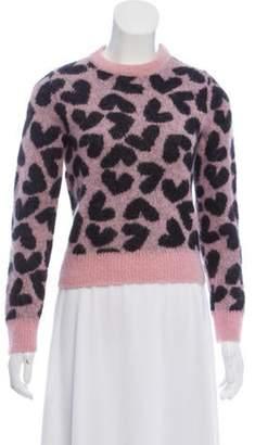 Saint Laurent Medium-Weight Heart-Printed Mohair Sweater pink Medium-Weight Heart-Printed Mohair Sweater