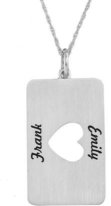 JCPenney FINE JEWELRY Personalized 14K White Gold Rectangular Heart Cutout Pendant Necklace