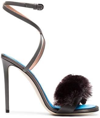 grey 110 fringe tassel silk satin sandals