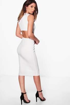 boohoo Faith Cut Out Back Sleeveless Rib Midi Dress