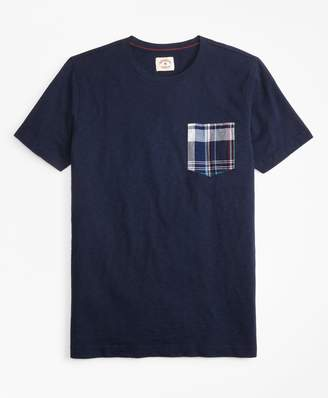 Brooks Brothers Slub Cotton Jersey Seersucker-Pocket T-Shirt