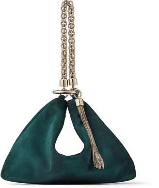Jimmy Choo CALLIE Dark Teal Suede Clutch Bag with Chain Strap