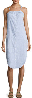 Onia Flora Sleeveless Button-Front Cotton Coverup Shirtdress