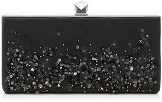 Jimmy Choo CELESTE/S Black Mix Satin Clutch Bag with Sequin Embroidery