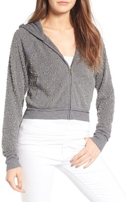 Women's Juicy Couture Dome Stud Embellished Fleece Hoodie $268 thestylecure.com