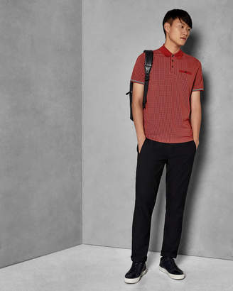 Ted Baker PEZZE Micro geo print cotton polo shirt
