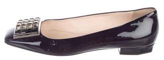 Prada Patent Leather Embellished Flats