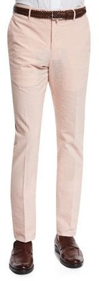 Incotex Benn Seersucker Cotton/Linen Straight-Leg Pants, Orange/White $395 thestylecure.com