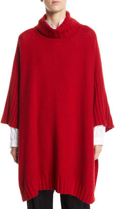 eskandar Turtleneck 3/4-Sleeve Cashmere Long Poncho Sweater
