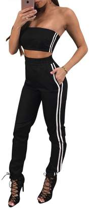 vnytop Women Sexy Tube Long Pant Side Striped Two Piece Pant Suits Sports Tracksuit