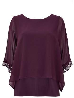 Wallis Berry Embellished Cuff Layered Top