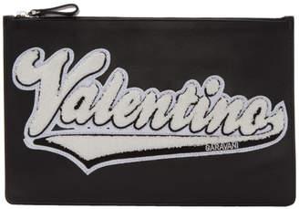 Valentino Black Garavani Varsity Logo Pouch