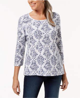 Karen Scott Petite Damask-Print 3/4-Sleeve Top, Created for Macy's