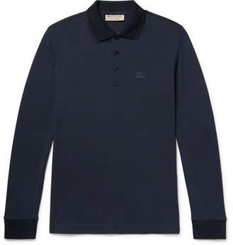 Burberry Embroidered Cotton-Pique Polo Shirt - Men - Navy