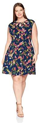 Gabby Skye Women's Plus Size Cap Sleeve Round Neck Knit a-Line Dress