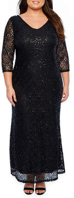 BLU SAGE Blu Sage 3/4 Sleeve Sequin Lace Evening Gown - Plus