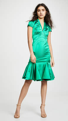 Zac Posen V Neck Satin Dress