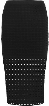 T by Alexander Wang - Perforated Stretch-jersey Skirt - Black $195 thestylecure.com