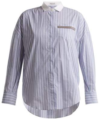 Brunello Cucinelli Embellished Pocket Striped Cotton Blend Shirt - Womens - Blue Multi