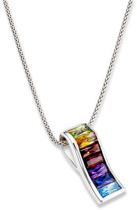 Macy's Sterling Silver Necklace, Multistone Rainbow Pendant (3-1/3 ct. t.w.)