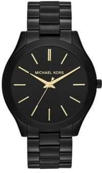 Michael Kors Slim Runway Black IP Stainless Steel Bracelet Watch