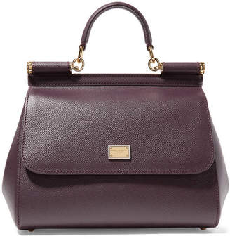 209e56c05876 Dolce   Gabbana Sicily Medium Textured-leather Tote - Burgundy