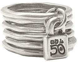 Uno de 50 Hammered Metal Layered Ring