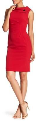 Tahari Fold-Over Envelope Sheath Dress