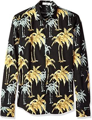 Scotch & Soda Men's Longsleeve Shirt with Allover Palm Print
