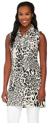 Dennis Basso Animal Print Sleeveless Tunic with Pockets