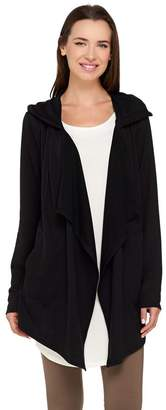 Logo By Lori Goldstein LOGO Lounge by Lori Goldstein French Terry Cascade Front Hooded Cardigan