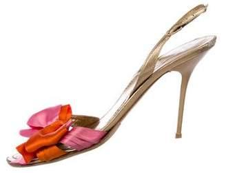 Rene Caovilla Bow-Accented Slingback Sandals