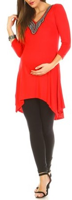 White Mark Women's Maternity Embellished Tunic Top - Extended Sizes Available