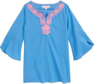 Lilly Pulitzer R) Mini Piet Cotton Cover-Up Dress