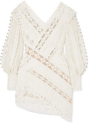 Zimmermann Moncur Studded Paneled Broderie Anglaise Cotton Mini Dress - Ivory