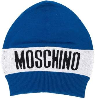 Moschino Kids logo knit beanie hat