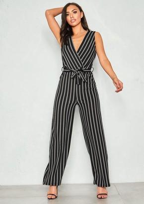 f6df0513fea5 Missy Empire Missyempire Kira Black Stripe Wrap Front Tie Waist Jumpsuit