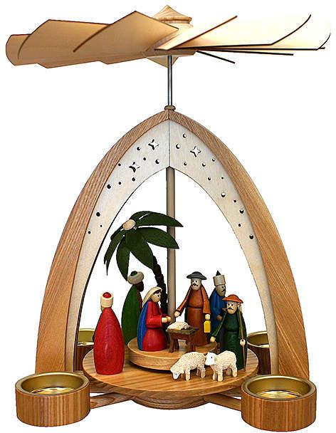 Nativity Scene Tea Light Pyramid
