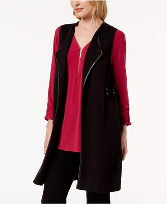JM Collection Faux-Leather-Trim Vest, Created for Macy's