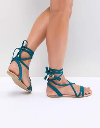Asos DESIGN Fayla Plaited Tie Leg Flat Sandals