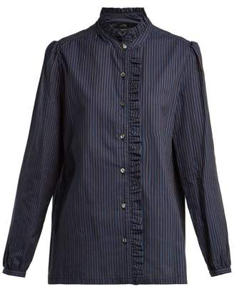 A.P.C. Dunst Ruffle Detailed Striped Cotton Shirt - Womens - Navy Stripe