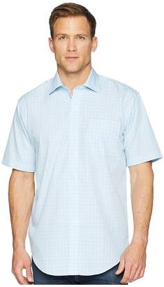 Magna Ready Short Sleeve Magnetically-Infused Check Dress Shirt- Spread Collar Men's Clothing