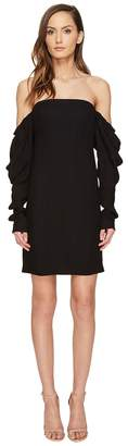Vera Wang Off the Shoulder Shift Dress with Draped Sleeve Women's Dress