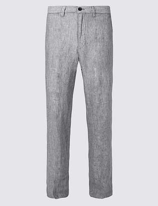 Marks and Spencer Straight Fit Pure Linen Trousers