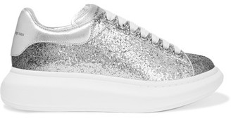 Alexander McQueen - Dégradé Glittered Leather Exaggerated-sole Sneakers - Silver $575 thestylecure.com