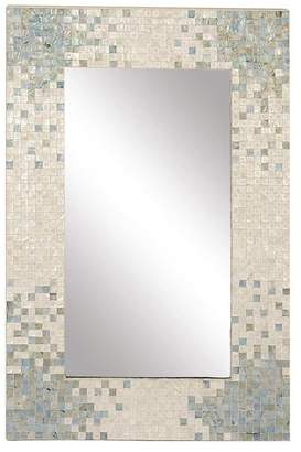 Brimfield & May Contemporary Shell Inlaid Rectangular Wooden Framed Wall Mirror