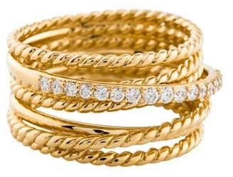 David Yurman 18K Diamond Crossover Wide Ring